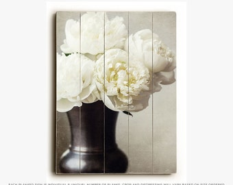 Wood Plank Sign: Peonies in a Vase Wood Plank, Elegant Flower Decor, Peony Photography, Cream Floral, Ivory Flowers, Rustic Decor.