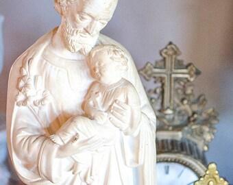 Antique St. Joseph Statue, Signed CSC, Large Size, White Plaster