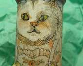 OOAK Mama Cat And Kittens Spool Doll Hand Painted Original Spool Doll on Vintage Wooden Spools Dolls & Miniatures Collectible