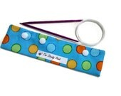 "Small Blue with Colorful Dots DPN Circular Project Holder for needles up to 7-1/2"" long S191"