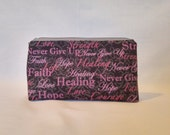 Small Hope, Love and Strength Breast Cancer Awareness Zipper Storage Pouch S86