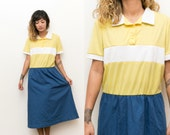 50s Mod Dress / Color Block Midi Shirt Dress / Collared Contrast Dress / 60s Blue Yellow Button Up Short Sleeve Dress 14 Large
