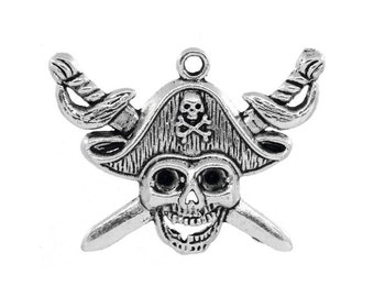 5 Pirate Skull Pendants / Charms in Silver Tone - C2479