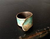 Aged and Textured Bronze Patina Cuff Ring