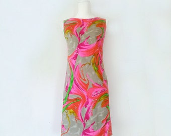 1960s Pink Gray Shift Dress 60s Vintage Mod Small Cotton Sundress Multicolor Abstract Art Painting Psychedelic Summer Festival Rainbow Dress