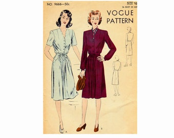 Scalloped accent Dress 1940s Vintage Vogue 9666 Bust 36 Size 18 Sewing Pattern 1943 WWII Day dress