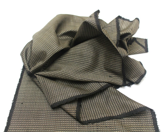 Antique Ooshima Tsumugi Ikat Silk. Japanese Vintage Artisan Fabric. Hand Loomed Textile. Botanical Dye. Brown. (Ref: 1555A-1)