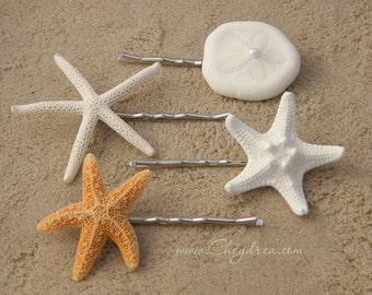 MERMAID HAIR ACCESSORIES, Beach Hair Accessories, Flower Girl Beach Wedding Hair Pins, Beach Wedding Jewelry Starfish Hair Pins by Cheydrea