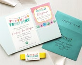 "Unique Baby Shower Invitations - Pale Blue Pocket, Yellow, Pink Envelope Liner, Aqua, Customizable - ""Cute As A Button"""