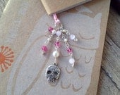 Pink Sugar Skull Book Thong Beaded Ribbon Bookmark Halloween Valentines Day