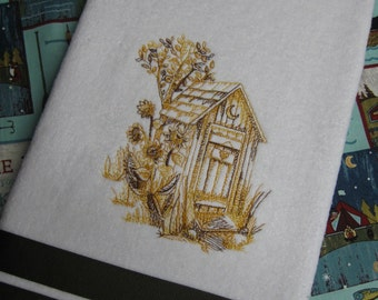 """Embroidered """"Rustic Outhouse"""" Hand Towel"""