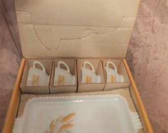 Anchor Hocking Golden Wheat Snack Set 8 Pc St MIB Vintage Anchor Hocking Milk Glass Party Snack Set