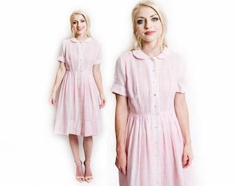 Vintage 50s Dress - Pink Plaid Cotton Full Skirt Shirtwaist Day Dress 1950s - Small