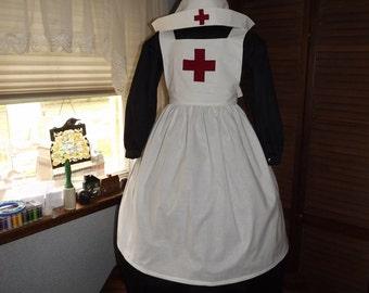 Girls Clara Barton Nurse Apron and Cap Reenacting Apron and Cap