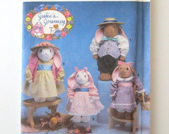 1990s Stuffed Bunny Doll Pattern Simplicity 7745 12 & 14 inch Boy and Girl Bunny Rabbit Toy Sewing Pattern Doll Clothes Julies Journey UNCUT