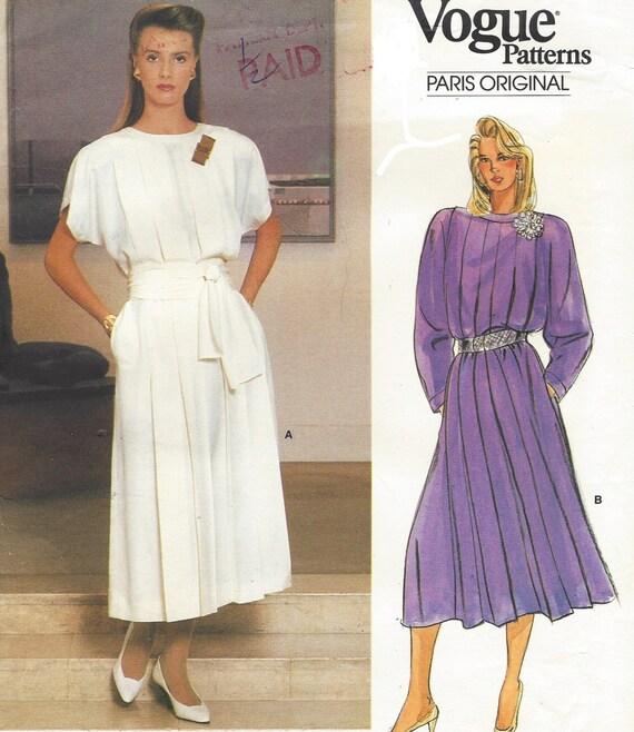 80s Guy Laroche Womens Tucked Front Blouson Dress Vogue Sewing Pattern 1553 Size 12 Bust 34 UnCut Vogue Paris Original Pattern