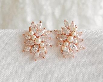 Rose Gold Wedding Earrings, Bridal Stud Earrings, Crystal Flower Cluster Stud Earrings, Swarovski Pearl Errings, Bridal Jewelry, LORETTA