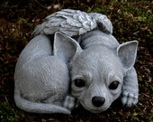 Chihuahua Angel Statue, Concrete Angel Dog, Concrete Dog Statues, Pet Memorial Chihuahua Memorial Headstone, Cement Chihuahua Angel Dog,