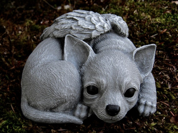 chihuahua angel statue concrete angel dog concrete dog. Black Bedroom Furniture Sets. Home Design Ideas