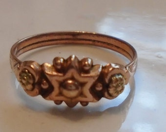 Victorian Rose Gold Fill Ring Dogwood Blossoms French 1880s Sz 7 3/4