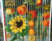 Sunflower and Raining Peaches all occasion card, handmade decoupage print card, blank inside, bushels of fruit, greeting card, Get Well Soon