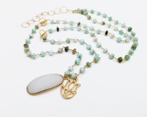 African Opal Beaded Chain with Gold Vermeil Lotus Flower and White Druzy Pendants, Bohemian Necklace, Layered Necklace