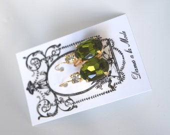 Olive Green Earrings, Olive Earring, Olive Crystal Earring, Regency Earrings, Green Rhinestone Earring, 19th Century Jewelry, Paste Earring