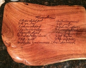 mesquite cutting board with recipe slab hand woodburned with any recipe