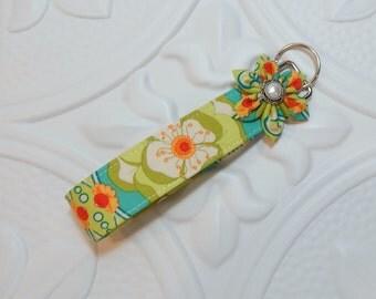 Fabric Keychain Key Fob Green Blue Apricot