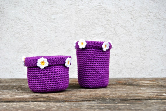 Baskets crochet storage bowls purple bins for by for Purple bathroom bin