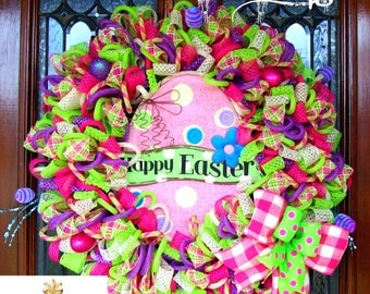 Whimsical Happy Easter Egg Wreath (READY TO SHIP)