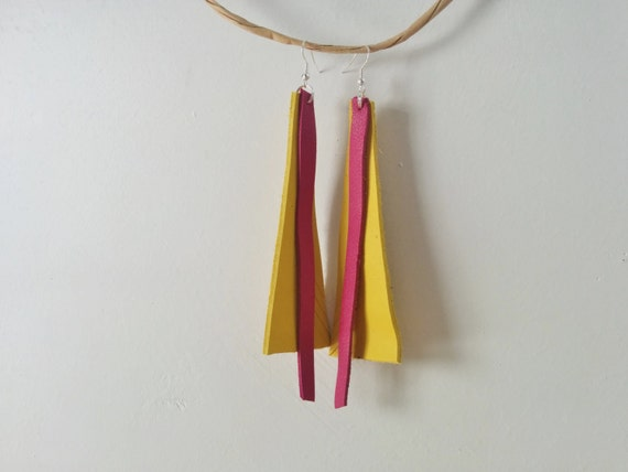 Leather earrings,yellow earrings,dangle earrings,long earrings,pink earrings,pink and yellow,leather jewelry,drop leather earrings