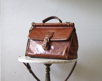Bag Leather Purse Brown Handbag Brass - 1970 Vintage