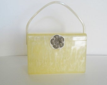 Signature Wilardy LUCITE SQUARE PRUSE|Wilardy Yellow Frost Marbel Lucite Top Handle Handbag|Vintage Square Box Lucite Wilardy Statement Bag
