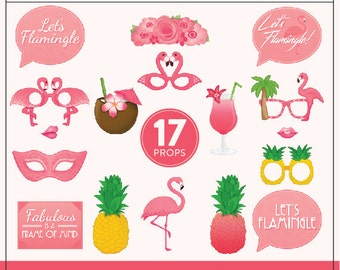 Printable Flamingo Party Props | 17 Flamingo Props | DIY Props | Instant Download | Photo-Booth Clipart