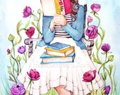 The Book Lover with Flowers - Print of Painting