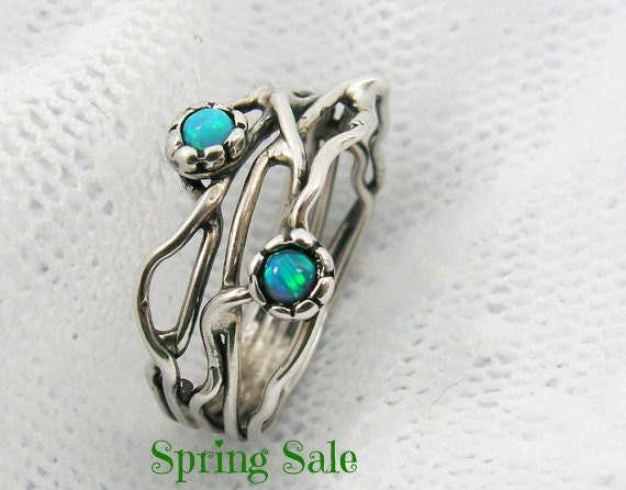 Silver Opal ring. Sterling silver ring. Organic design Opal ring. Branch silver ring. opal jewelry, gift for her (sr-9906-1296-1547)