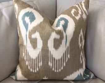 Two, Ikat Pillow, Kravet Pillow, Kravet Bansuri, Bansuri Pillow, Linen Pillow Cover, Ikat Pillow, 20X20, Taupe and Blue Pillow