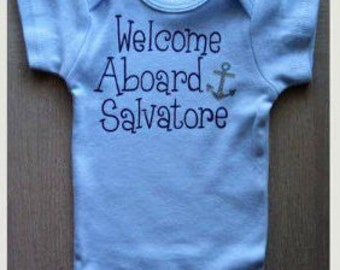 Special Order for Maria Young, 3 piece Anchor Boy Set, 2 onesies with One Blanket,