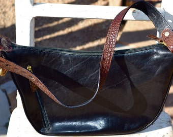 VTG Brahmin Alligator Embossed Black Brown Leather Shoulder Bag Purse
