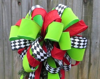 Tree Topper - Christmas Tree Topper - Fun, Whimsical Tree - Black and White Harlequin, Bright Red, Bright Green, Jester Ribbon, Deisgner