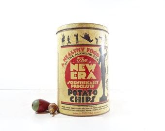 Vintage New Era Potato Chip Tin, Advertising Tin Box, Rustic Decor