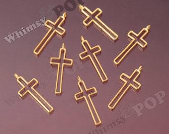 Gold Tone Alloy Cross Pendant Charm, Cross Charms, Christian Charms, Orthodox Charms, Catholic Charms, 39mm x 16mm (R9-068)