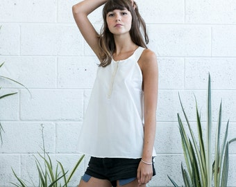 White Tank Top, women's tank, white tank with contrast strpas