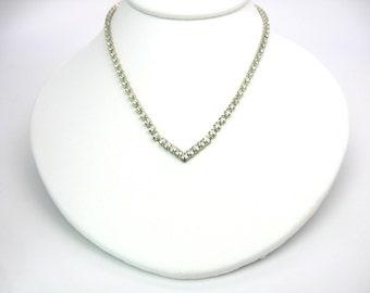 Rhinestone Chevron Necklace. Choker Necklace. V Centerpiece. Châton Crystals. Vintage 1960s Dressy, Special Occasion,