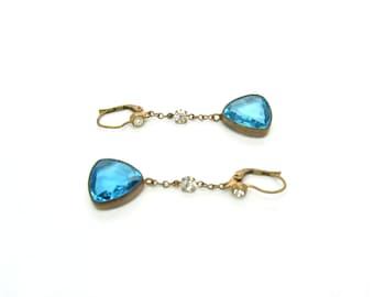 Rhinestone & Czech Glass Earrings. Aqua Trillion Cut Dangles. Pierced Lever Backs. Zircon Blue Color, Gold Gilt. 1950s Vintage Jewelry