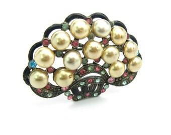 Art Deco Flower Brooch. Glass Pearls, Black Enamel Basket, Pastel Rhinestones. Milgrained Pot Metal. NE Glass Works. Vintage 1930's Jewelry.