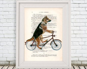 German Shephard Print, Cycling Dog, Poster Illustration Painting Animal Portrait  Decor Wall Hanging Wall Art Drawing, Dog on Bicycle