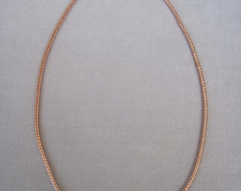 "Rose Gold Round Foxtail Snake Chain 3mm Wide 20"" Long Necklace"