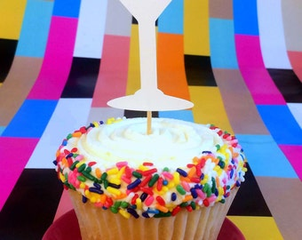 12 Drunk In Love bachlorette cupcake toppers martini shaped food pick for bridal shower engagement party decorations